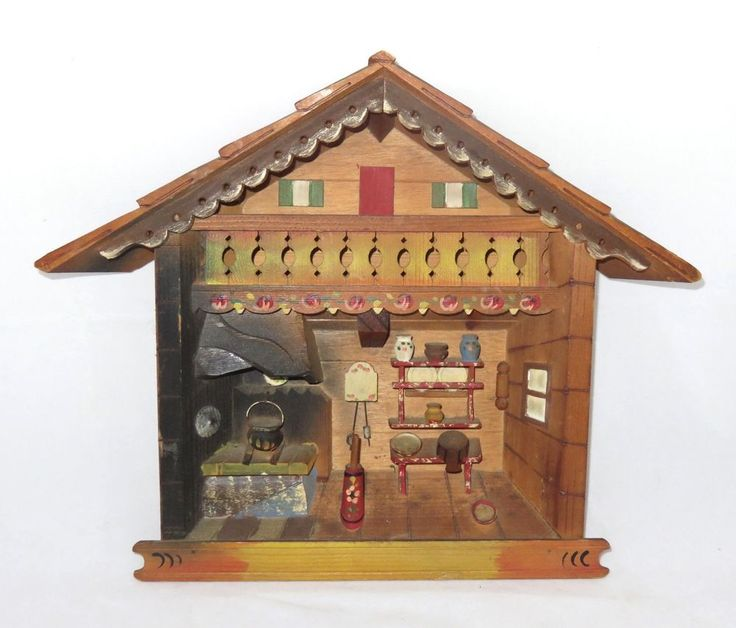 Kitchen Diorama Made Of Cereal Box: ITALIAN ALPS 1950s Vintage Kitchen Diorama Hand Carved 3D
