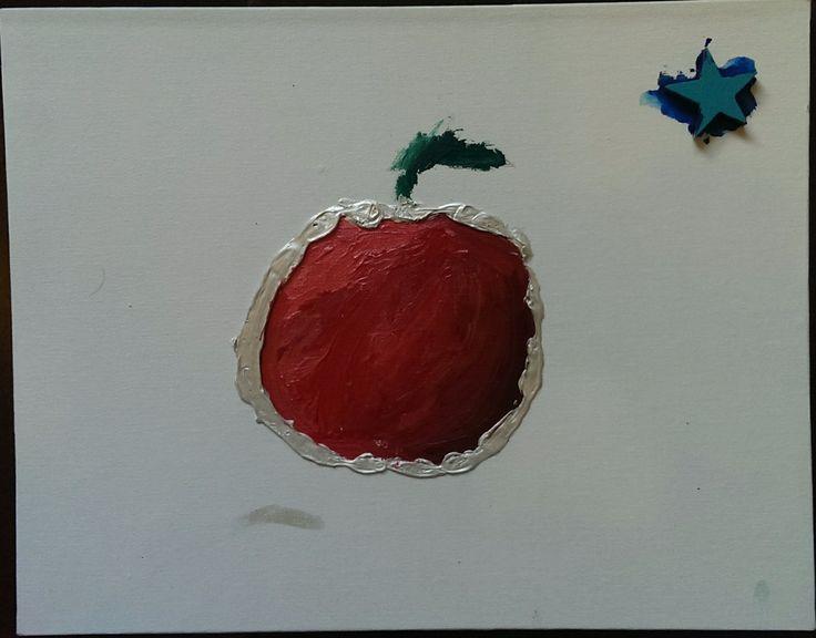 Apple & Star  2014 Acrylic on canvas board Artists: Papa Franz Vanderkraan          & 8 year old Kees Cruz-Vanderkraan
