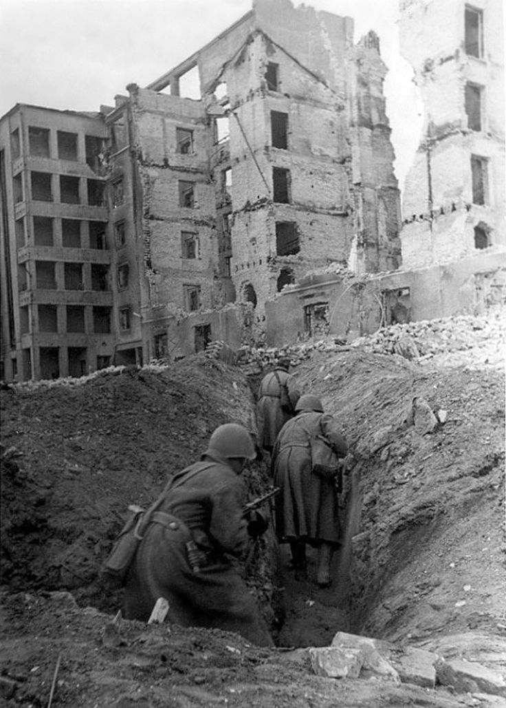 Soviet soldiers move through the trenches amongst the ruins during the Battle of Stalingrad. The German and Axis allied offensive to capture Stalingrad began on 12 September 1942 and ended on 2 February 1943. It is among the bloodiest battles in the history of warfare, with over two million killed and the entire city in ruins. The heavy losses inflicted on the Wehrmacht make it arguably the most strategically decisive battle of the whole war. It was a turning point in the European Theater of…