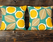 Teal, yellow and brown pillow covers.  Set of two (2) for 18x18 pillow inserts. Gorgeous Robert Allen fabric.. $45.00, via Etsy.