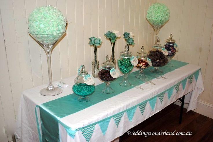 Tiffany green theme lolly buffet by Wedding Wonderland. #lolly #lollybuffet #tiffanygreen #weddingwonderlandofficial #weddingideas #partyideas www.weddingwonderland.com.au www.facebook.com/weddingwonderland.com.au