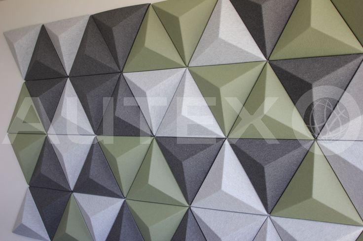 Autex Interior Acoustics - Quietspace® 3D Tiles - Autex Head Office, Auckland, NZ - Colours: Avocado, Silver and Charcoal - Direct fix to wall
