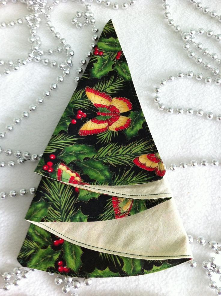 Fabric Christmas Napkins, Christmas Tree Fold,
