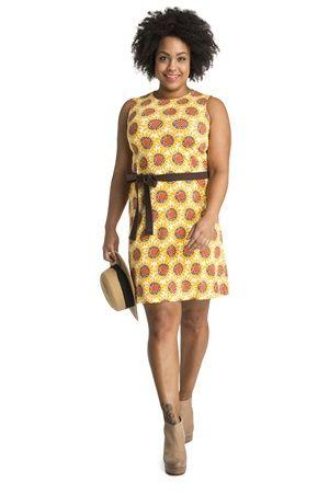 Ärmelloses Kleid mit Allover-Print und einer Naht direkt über der Taille.