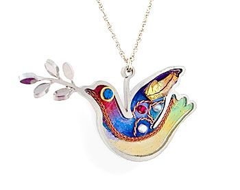 nice dove- Jewish jewelry: Peace Dove, Necklaces, Light