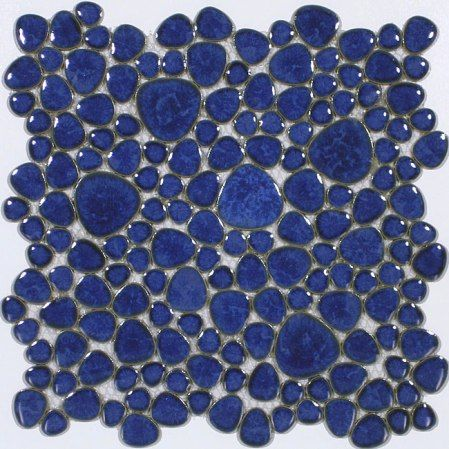 SomerTile's gorgeous blue mosaic tile offers the perfect accent toa bathroom, pool area or any room that benefits from a cooling,circular design. This glazed tile is great for use on walls,flooring or