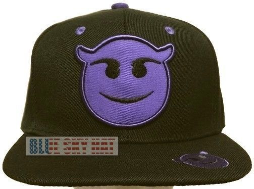 NEW PURPLE EMOJI EMOTICONS FUNNY FACE DEVIL EVIL SMILING HORNS SNAPBACK CAP HAT #Premiumhat #BaseballCap