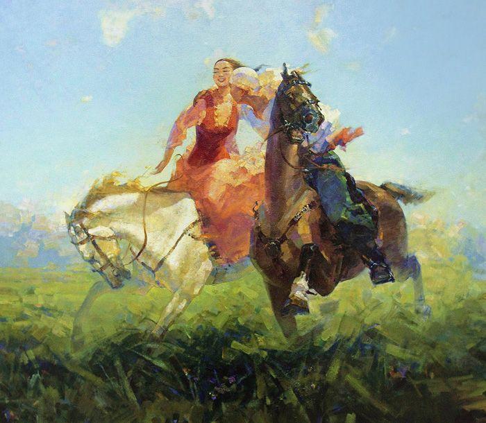 "Kazakh painter Meirzhan Nurgozhin. ""Kyz kuu"", i.e. Kazakh traditional sports game"