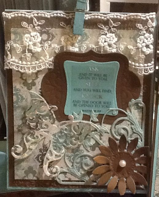 Aqua and brown with die cut elements, Matthew 7:7