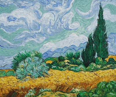 Wheat Field with Cypresses – Vincent Van Gogh- overstockArt.com