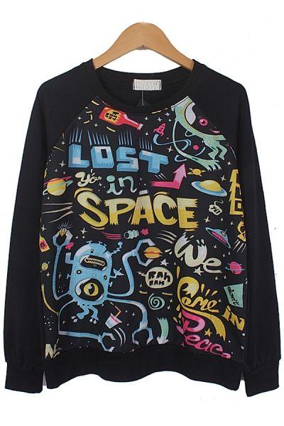 LOST SPACE graphic Sweatshirt OASAP.com  This shirt defines my brain.