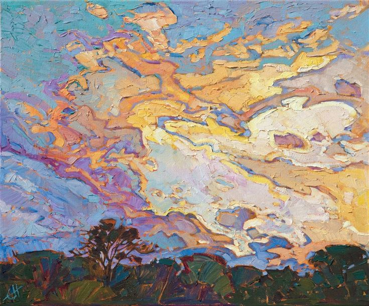 Oil painting of Texas Hill Country skyscape scenery by contemporary artist Erin Hanson