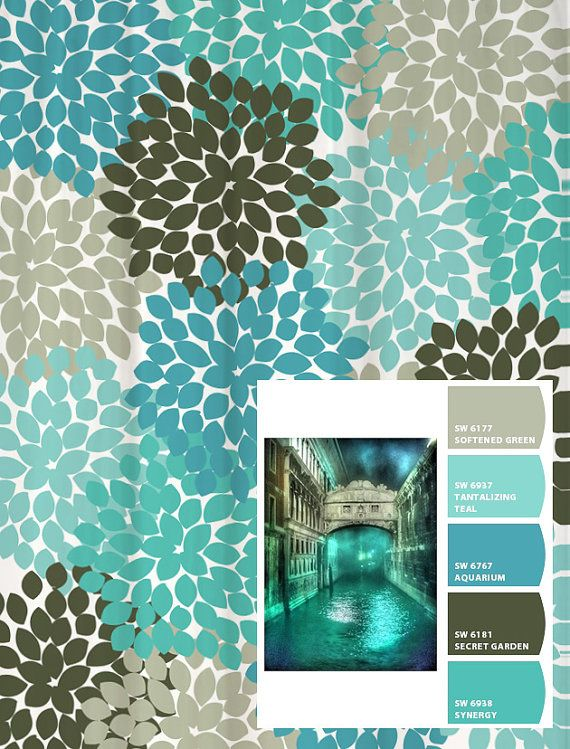 Shower Curtain Blue Aqua Gray Venice Inspired Floral Standard and Long Lengths 70, 74, 78, 84, 88, or 96 in. Let's make one in your colors!