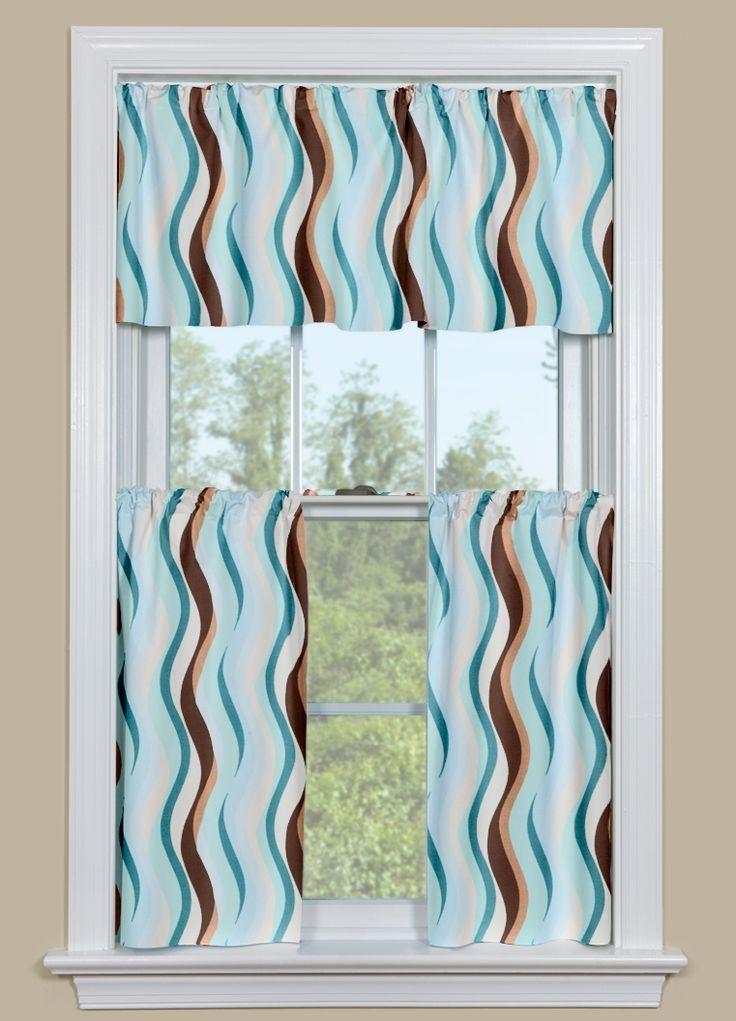 Retro Wavy Print Kitchen Window Curtain