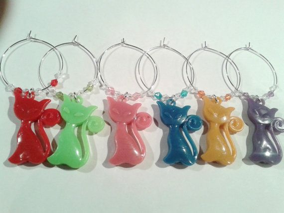 CATS Wine Glass Charms. Chunky Cat Wine by ElizabettaJewellery                                                                                                                                                                                 More