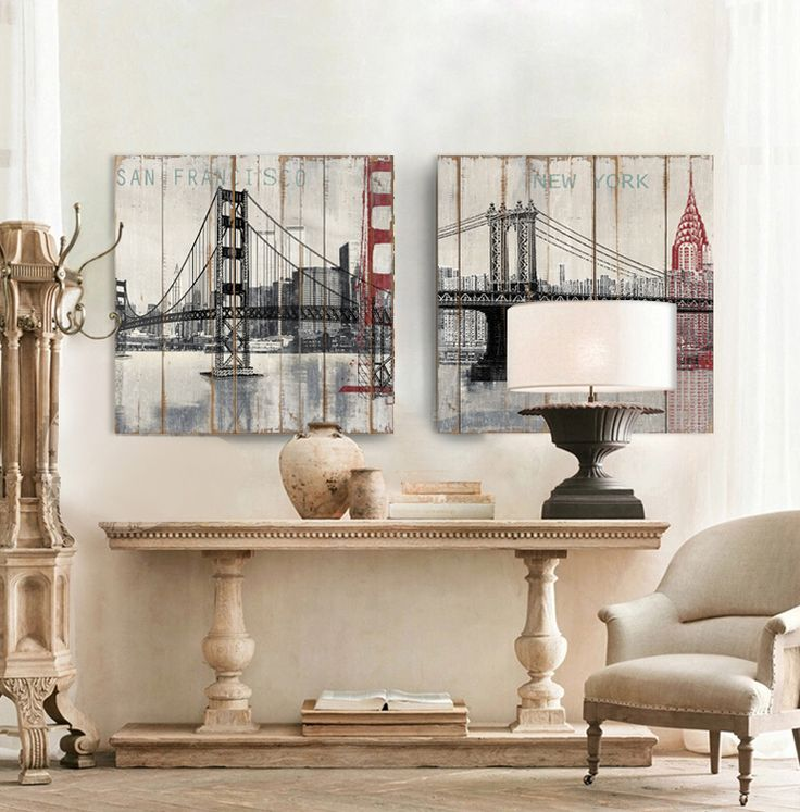 Wood New York Brooklyn Bridge Canvas Art Wall Home Decor Modern Painting Picture Living Room Bedroom
