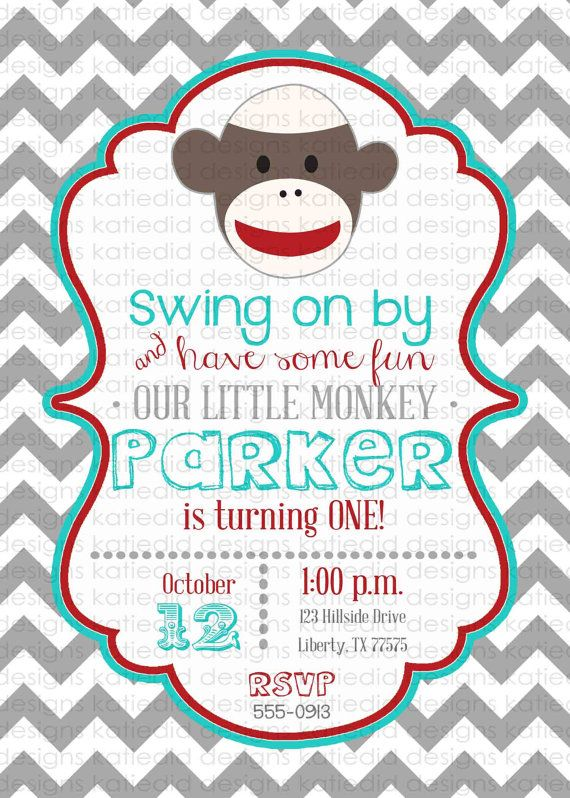first birthday invitations with sock monkeys boy by katiedidesigns