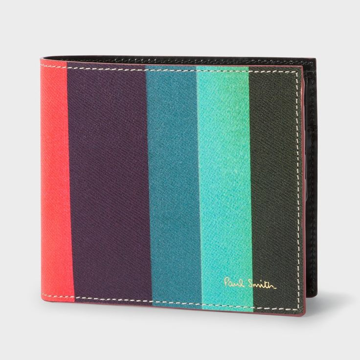 PAUL SMITH Men's Leather 'Artist Stripe' Billfold And Coin Wallet. #paulsmith #all