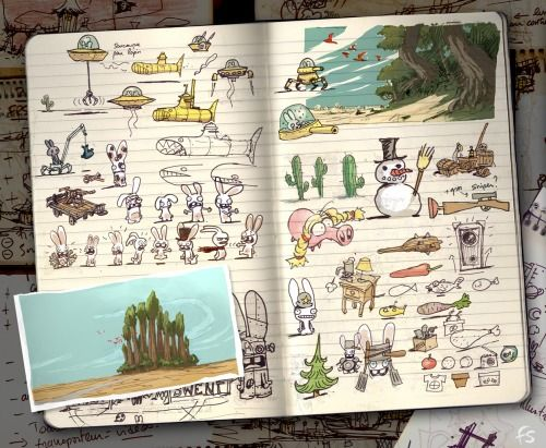 concepts for Rayman: Raving rabbits (game) by Florent Sacré (Art Director at UBISOFT).