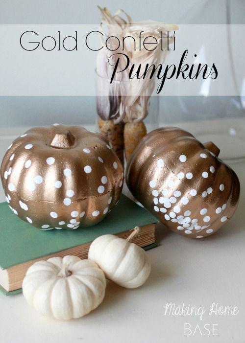 Pumpkin Decorating Ideas: Gold Confetti Pumpkins via @Chelsea Rose Rose @ Making Home Base