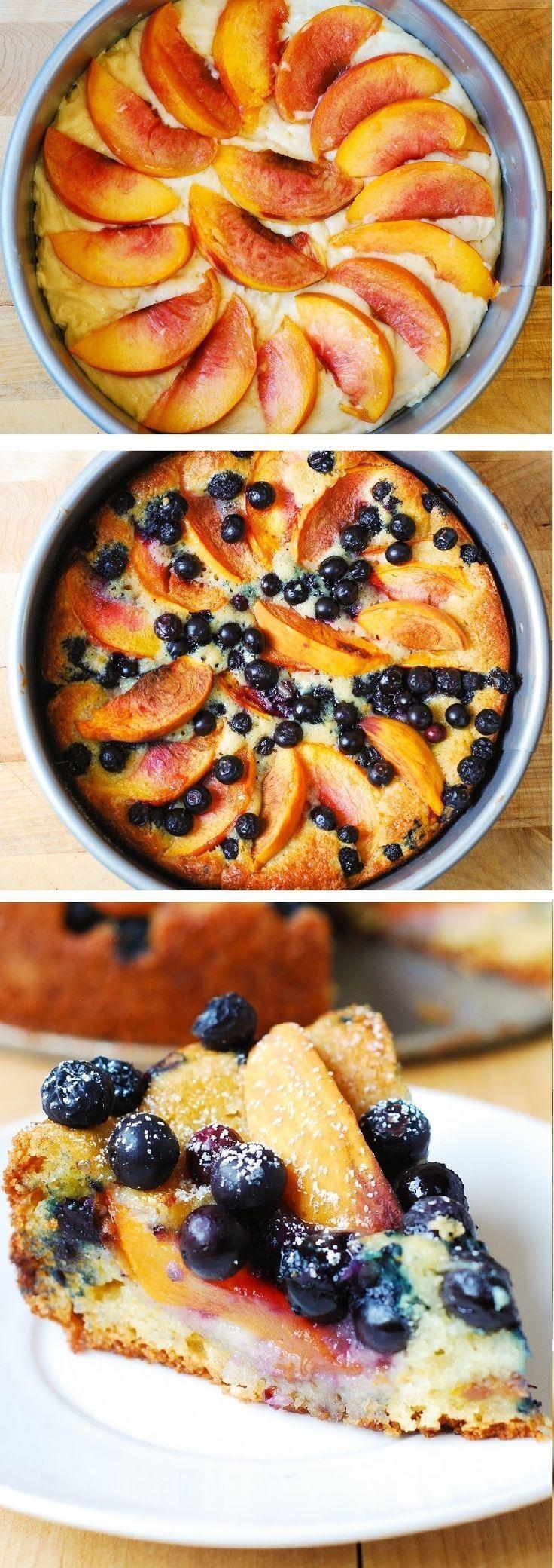 Delicious, Light and Fluffy Peach Blueberry Greek Yogurt Cake #greekyogurt #cake #berries