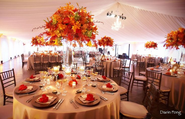 lovely fall reception - nice linens and colors