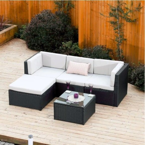Rattan Garden Furniture Set Sofa Grey Outdoor Lounge Patio Armchair Coffee Table