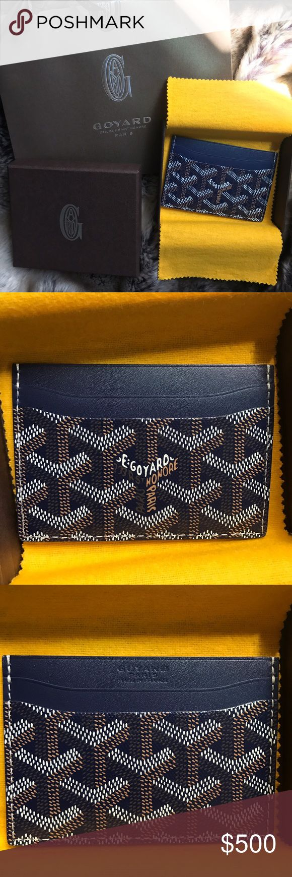 Maison Goyard St Surplice Navy Credit Card Holder Brand new with tags. 1000% authentic. No trades. Goyard Accessories Key & Card Holders