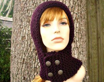 Sombrero del knit para mujer sombrero de punto campana - pasamontañas de casco de Guerrero violeta berenjena de punto sombrero - accesorios para mujer