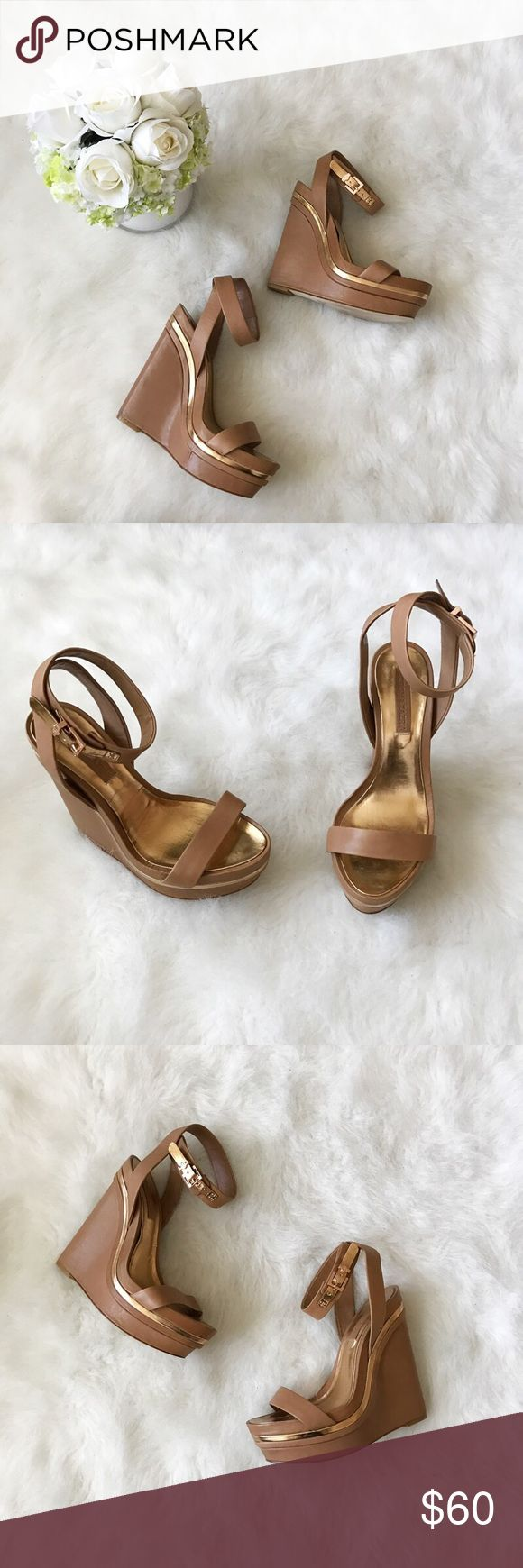 BCBG MAXAZRIA Laura Platform Wedges💛 BCBG MAXAZRIA Laura Platform Wedges💛 Size: 7.5 Condition: Used (worn once) Trendy summer wedges,perfect to pair with jeans, maxi dresses, bikinis or skirts. They do not come with box,selling these for my sister who wore them once to a Las Vegas pool party. They feature a strappy look, gold features and heel height of approximately 4.5 inches. Small flaws on left wedge heel. Grab these beauties while you can ☀️😊   In Bin: F3 **All items from my closet…
