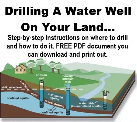 If you have some land, all the free water you could ever need might be just below your feet... Imagine the saving and the freedom having your own water supply would bring... All you would need then is the solar panels for some electricity and a wood...