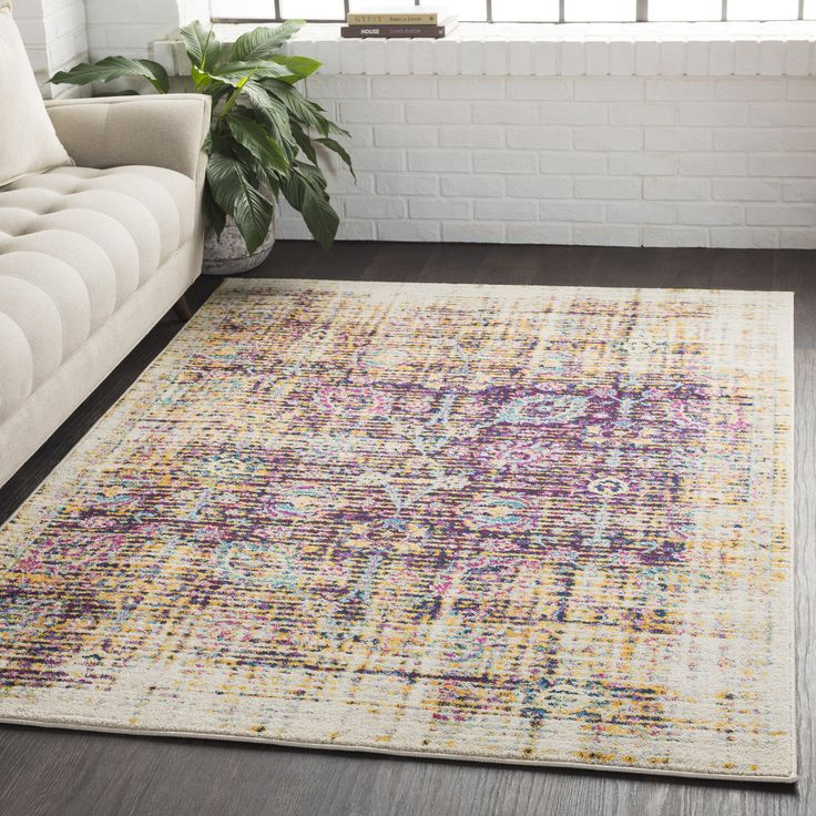 Surya Overdyed Distressed Traditional Purple/Yellow Area Rug (2' x 3') (Purple (2' x 3')), Size 2' x 3' (Polypropylene, Oriental)