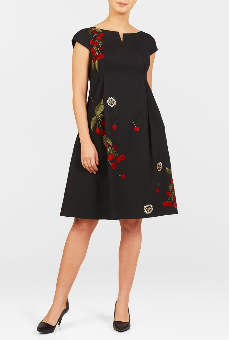 Our effortless dress flows gracefully from a seamed empire waist into a knee length hem that is fashioned from floral embellished cotton poplin.