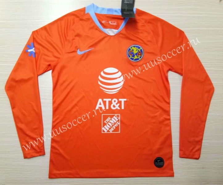 wholesale dealer 44446 70b9e 2019-2020 Club America 2nd Away Orange LS Thailand Soccer ...