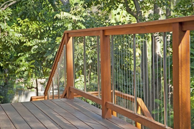 Balustrades Incorporating beautiful Australian Hardwood rails, with Stainless Steel infill, or now with Extruded Aluminium in your choice of colour