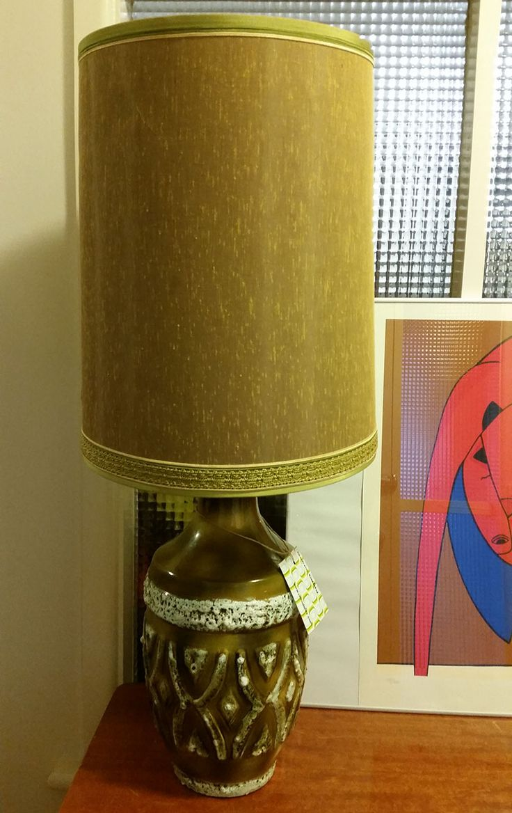 Large Vintage Typical Italian Bitossi Lamp. Lovely olive green.