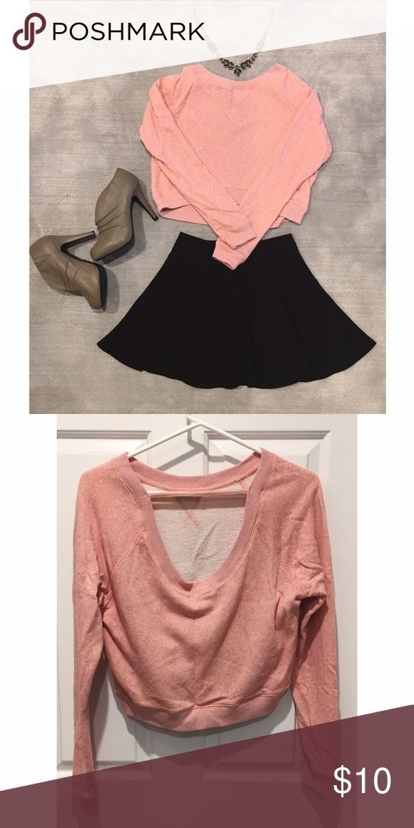 Strappy Back Marled Sweater Crop Top This simple but cute pink marled sweater crop top has a unique strappy back and goes well with most bottoms - skirts, jeans, high waisted shorts  Tops Crop Tops