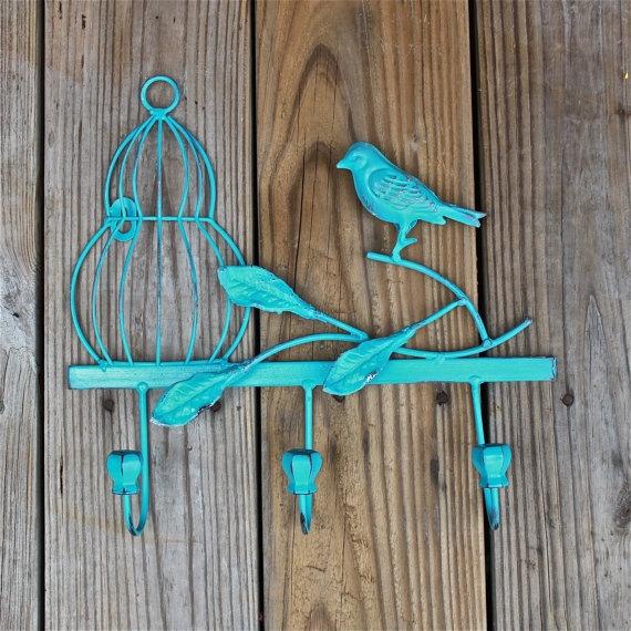 Wall Hook /Turquoise /Shabby Chic Decor /Metal /Ornate Hanger /Key Holder /Bathroom Fixture /Bedroom /Mud Room Rack /Laundry /Nursery