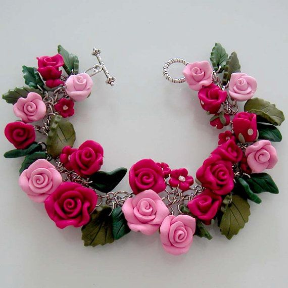 Pink Rose Garden Bracelet Polymer Clay