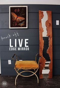 DIY Live Edge Mirror from plywood and a dorm mirror! Simple tutorial from East Coast Creative Blog #Knockitofftv