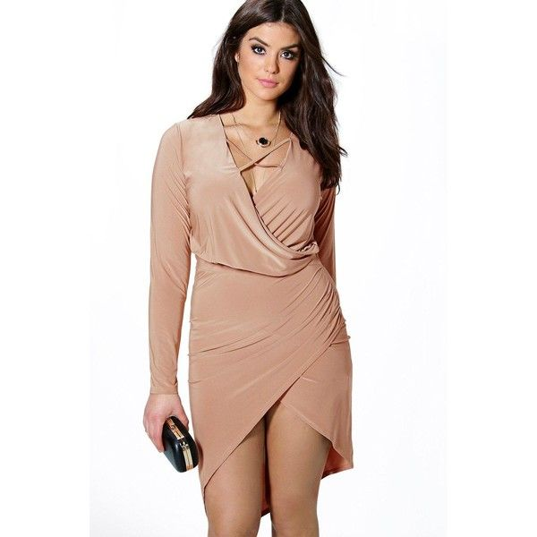 Boohoo Plus Plus Lydia Wrap Front Slinky Dress ($30) ❤ liked on Polyvore featuring dresses, camel, sequin party dresses, maxi dress, cocktail party dress, holiday party dresses and maxi cocktail dress