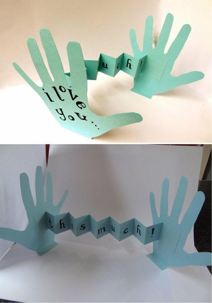 Bricolage Fete Des Peres Facile Des Empreintes De Mains En Papier