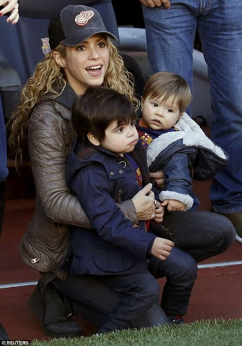 Cheerleaders: Shakira and her sons supported her football-playing partner Gerard Piqué in Barcelona, Spain on Saturday