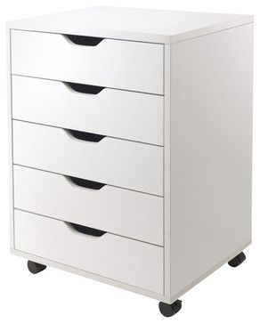 Winsome Halifax Cabinet for Closet/Office with 5 Drawers in White Finish - transitional - Office Carts And Stands - Cymax