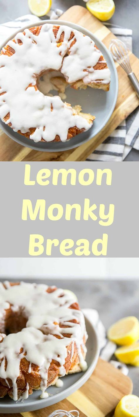 This easy monkey bread recipe features biscuits coated in a lemon sugar mixture then baked until golden! The lemon glaze really adds a big citrus punch! #breakfast #brunch #monkeybread #easyrecipe via @Lemonsforlulu