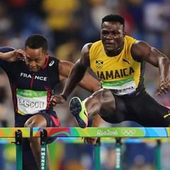 Omar McLeod of Jamaica competes during the Men's 110m Hurdles Final at Rio Olympics