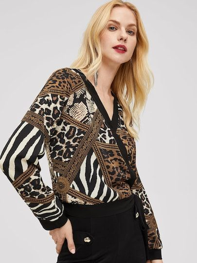 751ddb02177f0e Solid Trim Animal Print Wrap Top [blouse181108408] - $26.00 : moonbaye.com