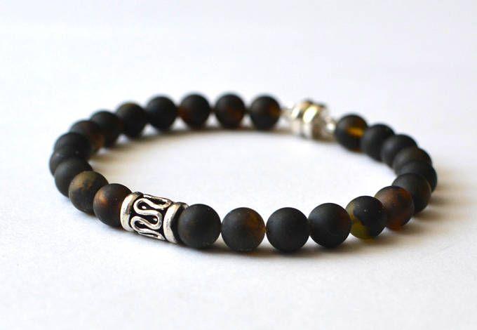 Mens Bracelet, Amber Bracelet for Him, Black Mens Bracelet, Amber Jewelry, Gift for him, Mens Jewelry by KARUBA on Etsy