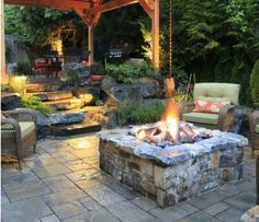 Natural stone gas fire pit