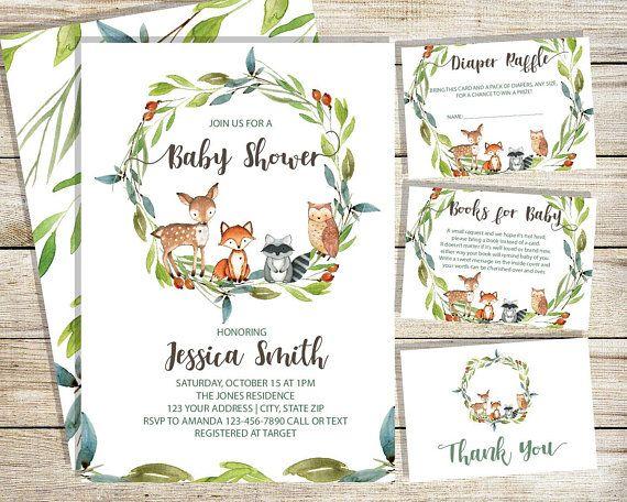 Woodland Baby Shower Invitation, Boy, Girl, Gender Neutral, woodland animals instant download, Editable, Digital, Woodland Theme Invites